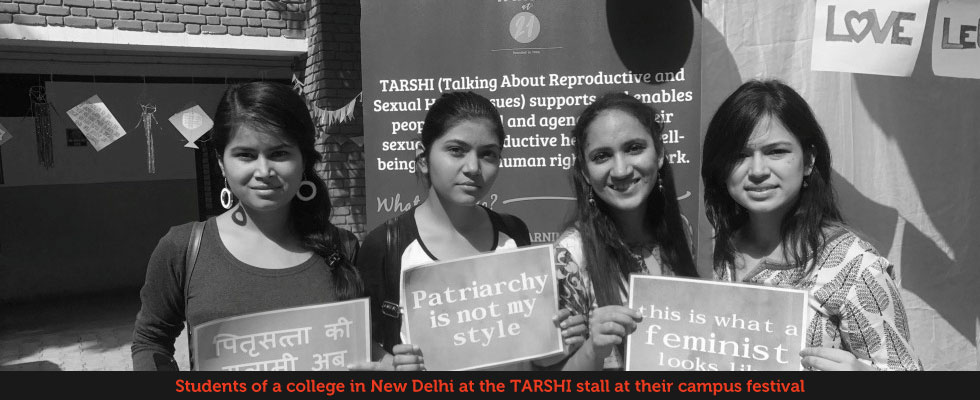 Students of a college in New Delhi at the TARSHI stall at their Campus Festival