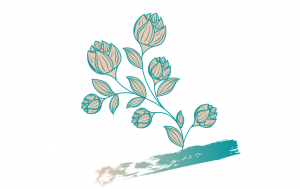 sea green and light peach leaves and flowers