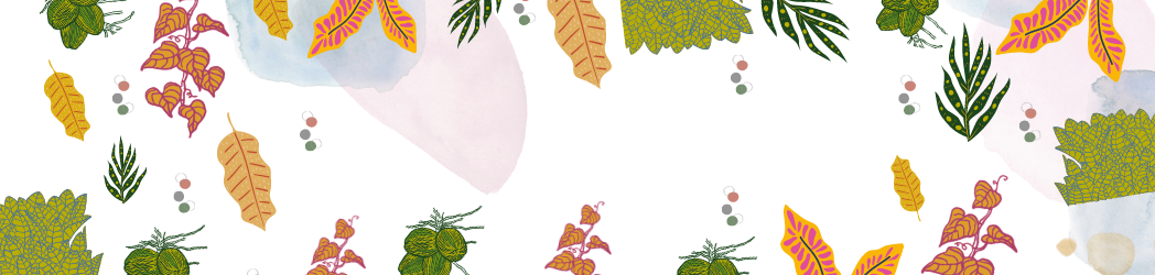 Coloured leaves and textured patches in blue and pink on a white background